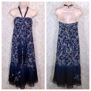 Rebecca Taylor Roses Sequined Silk Halter Dress 6